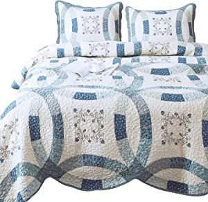 ANNA Z HOME Luna 3-Piece Quilt Set. Cotton Fabrics. Hand-Made Patchwork and Embroidery. Real Pieced. Transitional Style. Pre-Washed and Allover Quilting. (Blue, Queen SEET)