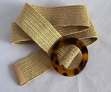 Cinturón de rafia elástico con hebilla de carey. Envío GRATIS 72h: Amazon.es: Belleza