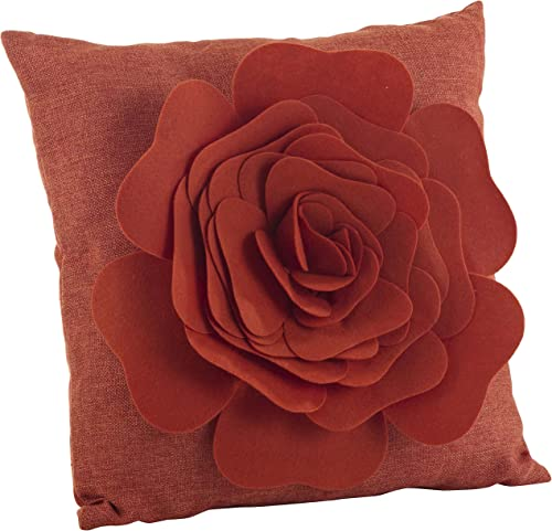 SARO LIFESTYLE FT331 Beautiful and Fun Flower with Felt Roses Throw Pillow, Filled, Terracotta