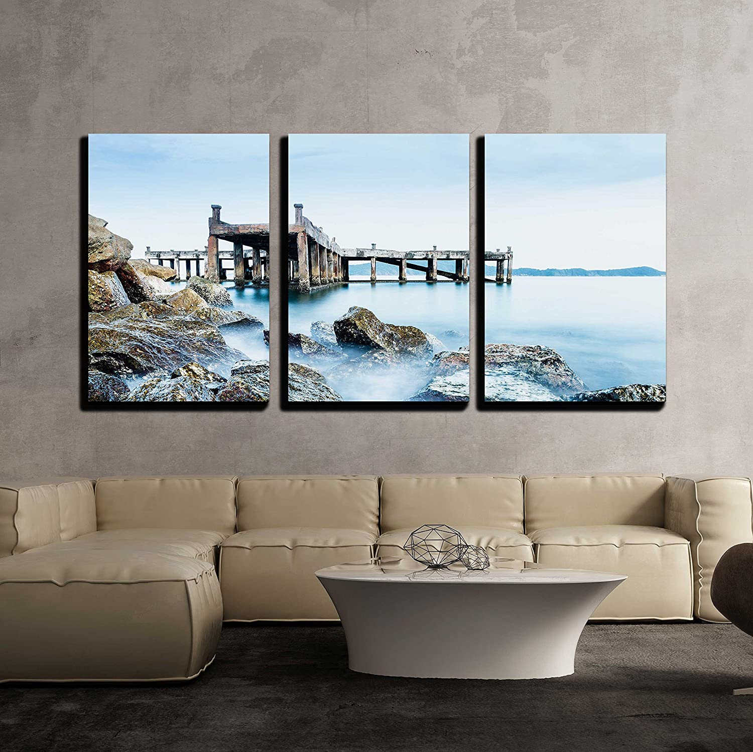 Wall26 3 Piece Canvas Wall Art Old Jetty And Rocks Modern Home Art Stretched And Framed Ready To Hang 24 X36 X3 Panels Posters Prints