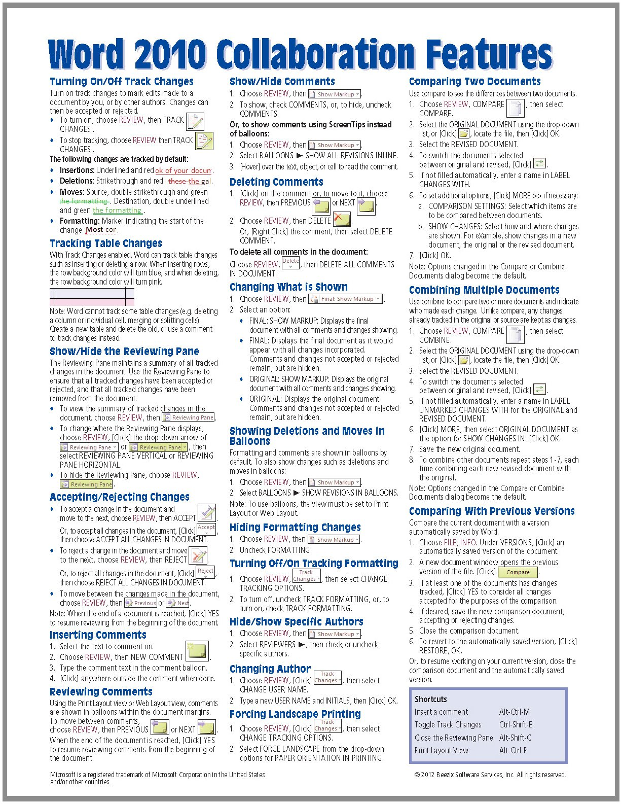 Microsoft Word 2010 Collaboration Features Quick Reference