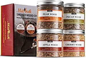 MITBAK Wood Chips for Smoking Gun (Set of 4 - Apple, Cherry, Pecan, Pear) 4 OZ Each| Extra Fine Wood Smoking Chips for Handheld Smoke Infuser | Premium Smoker Woodchip Set for Drinks, Food