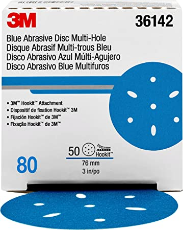 "3m 3M-36172 Hookit Blue Abrasive Disc Multi-hole 6/"" 80 Grade"