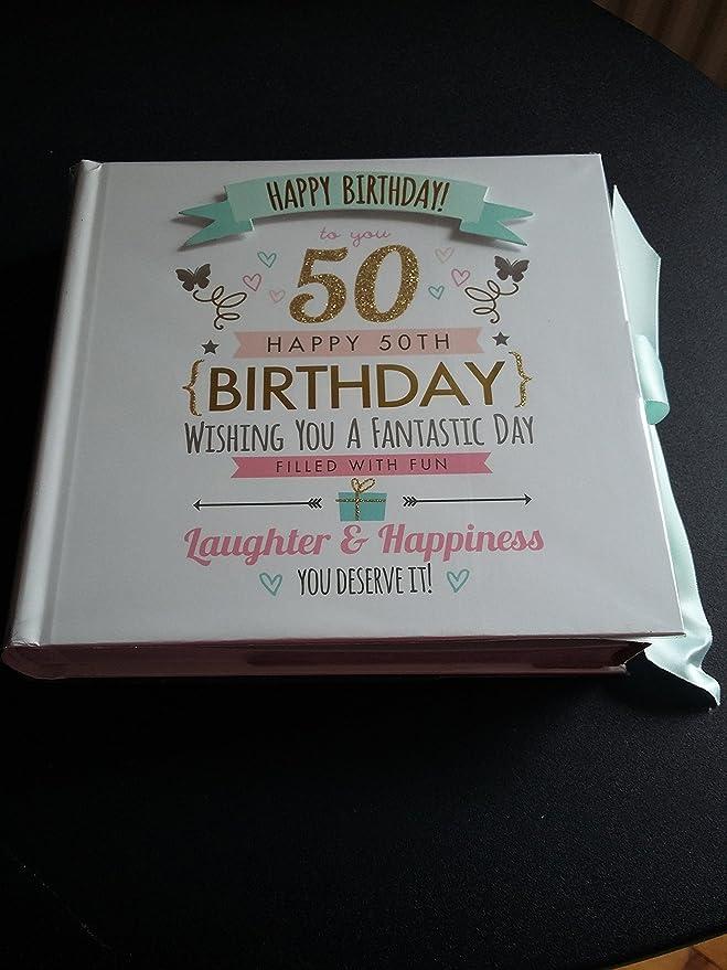 Álbum de fotos para el 50 cumpleaños, con capacidad para 80 fotos 15 x10 cm: Amazon.es: Hogar