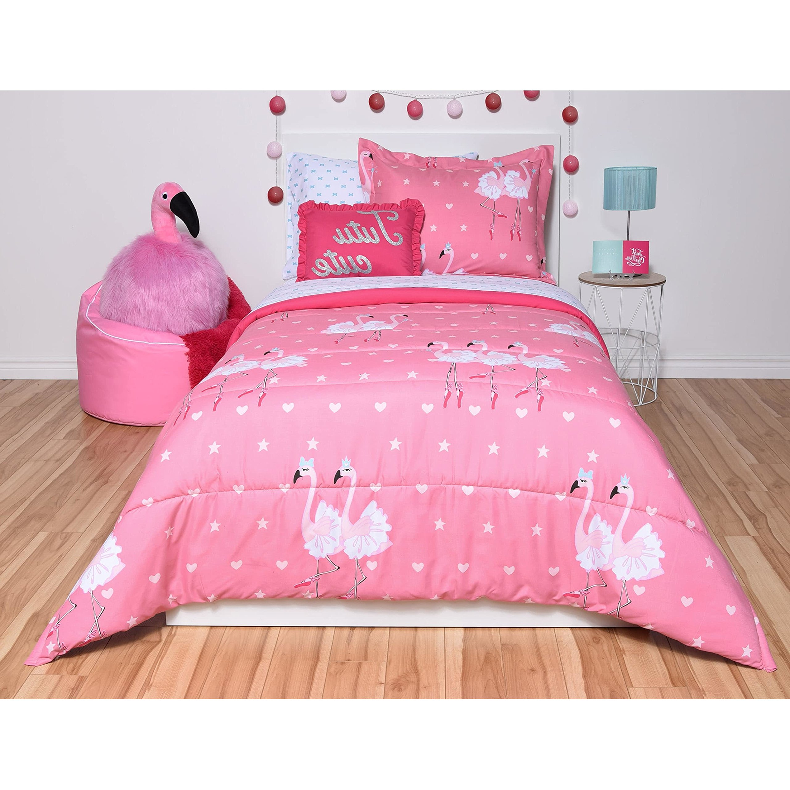 N-A 5 Piece Girls Hot Pink White Ballet Dancing Flamingoes Comforter Twin Set, Vibrant Multi Ballerina Dance ird Bedding, Cute All Over Shapes Star Heart Pattern, Microfiber