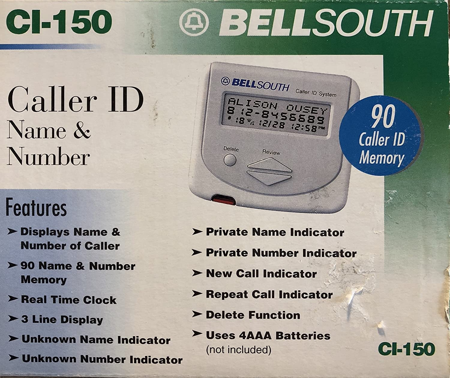BELLSOUTH CI-150 Caller ID With 90 Name/Number Memory: Electronics