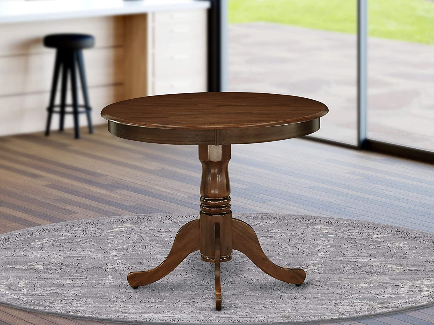 ANT-AWA-TP Antique Dining Table Made of Rubber Wood, 36 Inch Round, Walnut Finish