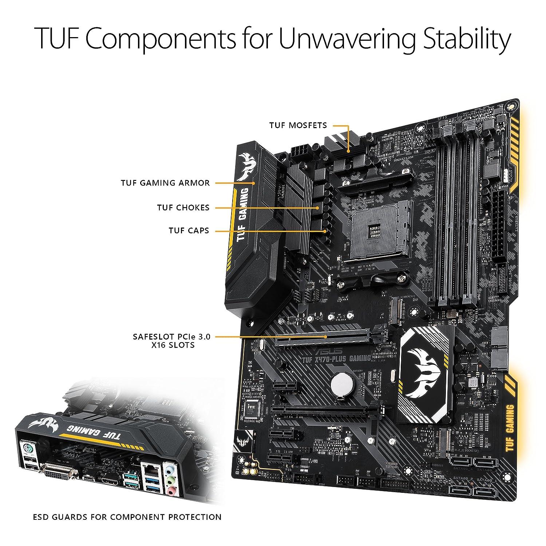 Asus TUF X470-PLUS GAMING AMD AM4 X470 ATX - Placa base gaming con Aura Sync RGB iluminación LED, DDR4 3466MHz , 32Gbps M.2, y USB 3.1 Gen 2