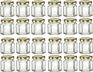 Nakpunar 24 pcs 1.5 oz Hexagon Glass Jars with Gold Lids - 45 ml