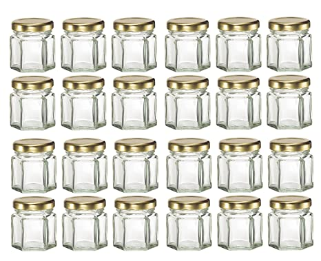 38ee2d319eab Nakpunar 24 pcs 1.5 oz Hexagon Glass Jars with Gold Lids - 45 ml