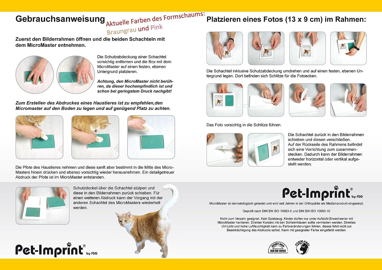 dobar 36011 Bilderrahmen - Kaninchen Hund mit 2X 3D Pfotenabdruck ...