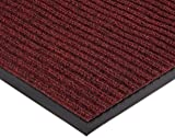 """NoTrax 109 Brush Step Entrance Mat, for Lobbies and Indoor Entranceways, 4' Width x 6' Length x 3/8"""" Thickness, Red/Black"""
