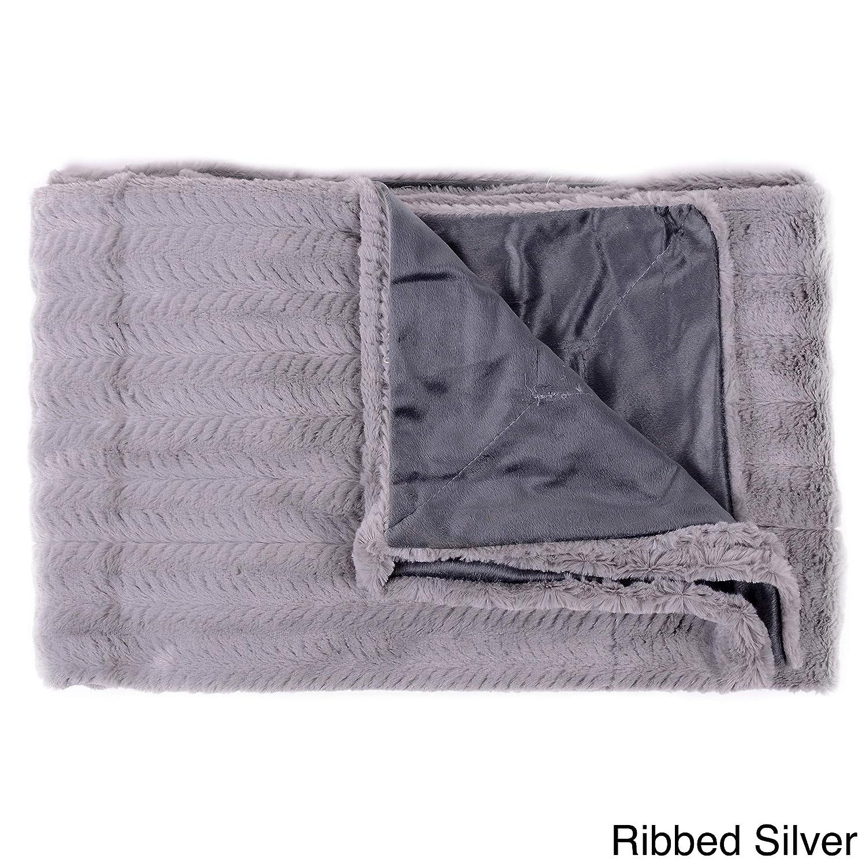 Single Pieceリブ編みシルバーThrow、毛布、洗濯機洗い可能、ダウン代替現代のスタイル、ストライプパターン、ラグジュアリー、Extra Comfort、フェイクファーリバーシブル100 %ポリエステル素材、セージ、グレー B01M0J6QXE