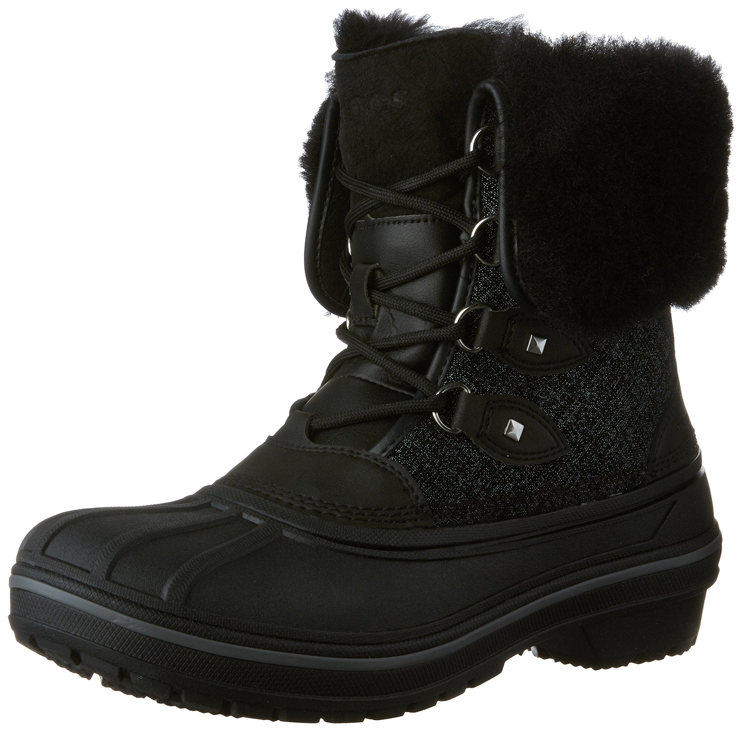 Crocs Women's AllCast II Luxe Snow Boot, Black Shimmer, 8 M US
