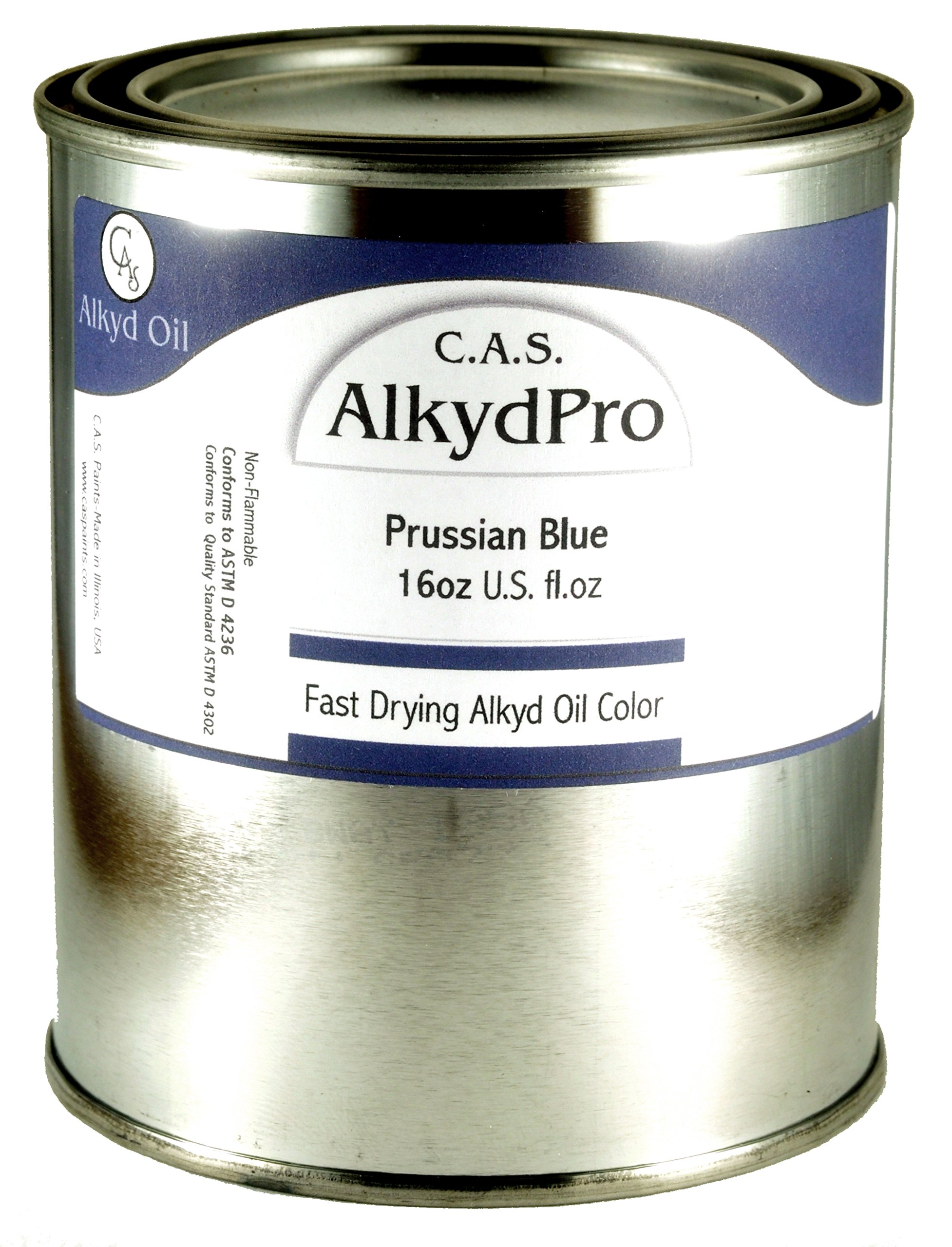 C.A.S. Paints AlkydPro Fast-Drying Oil Color Paint Can, 16-Ounce, Prussian Blue