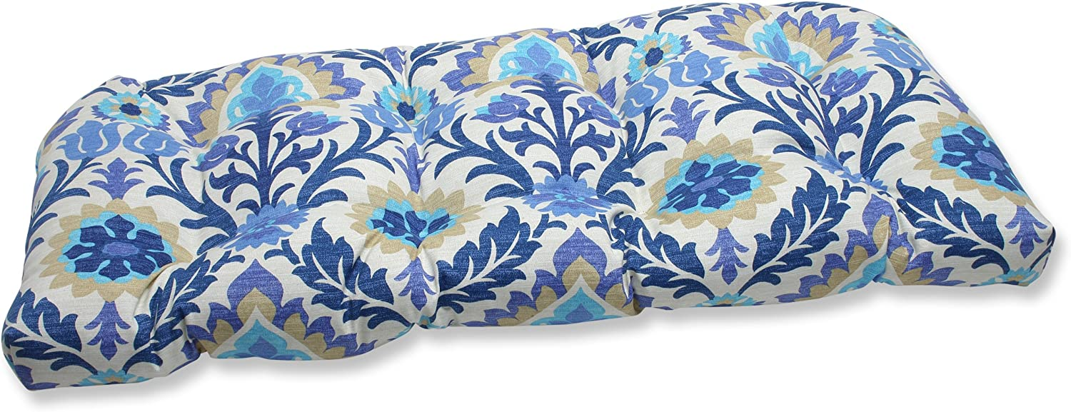 Pillow Perfect Outdoor Santa Maria Wicker Loveseat Cushion, Azure