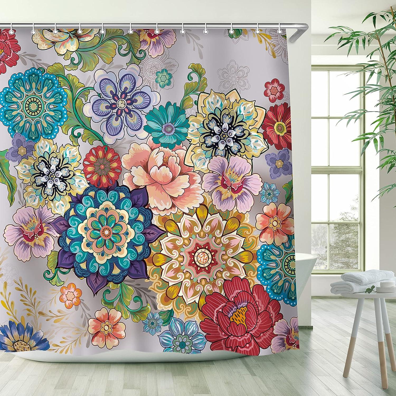 Boho Floral Shower Curtain, Boho Mandala Flowers Shower Curtains Sets with 12 Hooks, Machine Washable, Dry Quickly, 72