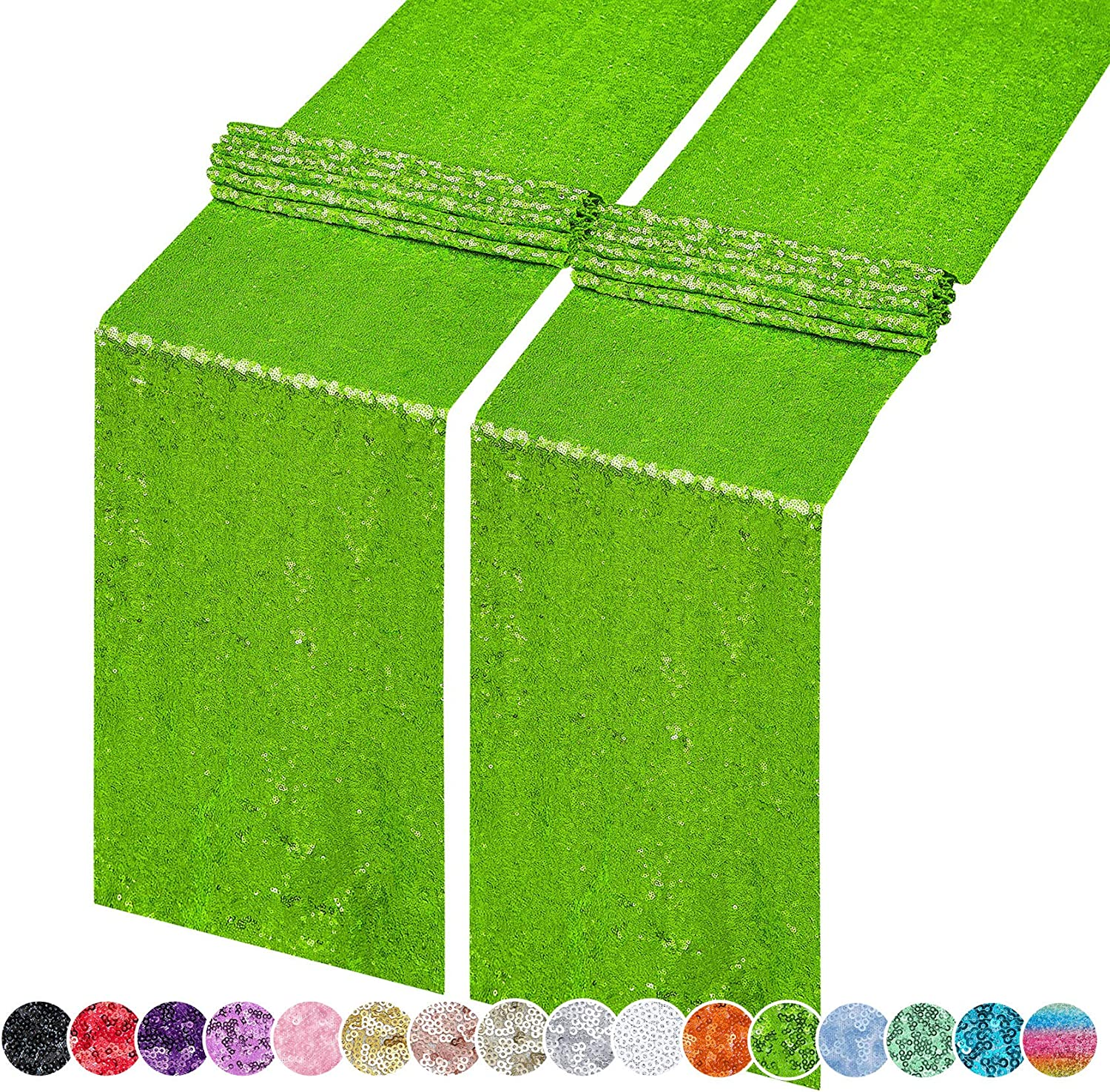 Hahuho 2PCS 12x108 Inch Sequin Table Runner Apple Green Glitter Table Runner for Party, Wedding, Bridal Baby Shower, Event Decorations(2PCS, 12x108 Inch, Apple Green)