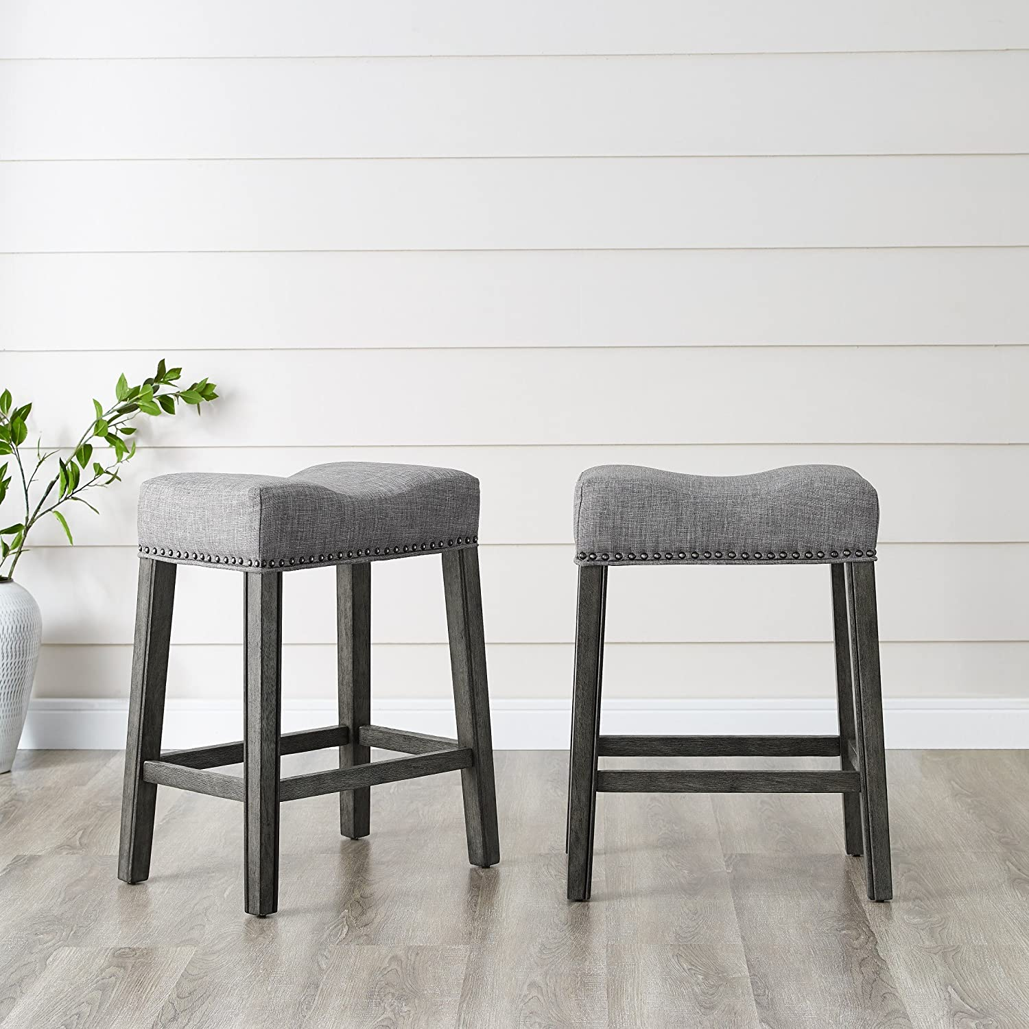 """Roundhill Furniture Coco Upholstered Backless Saddle Seat Counter Stools 24"""" Height Set of 2, Gray"""