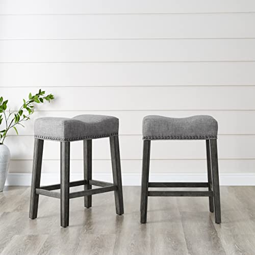 Roundhill Furniture Coco Upholstered Backless Saddle Seat Counter Stools 24 Height Set of 2, Gray