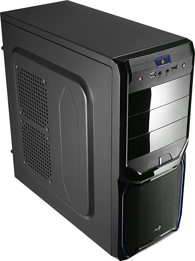 Aerocool V3XAD - Caja gaming para PC (semitorre, ATX, 7 ranuras de expansión, capacidad hasta 4 ventiladores, incluye ventilador trasero 8 cm y frontal LED rojo 12 cm, USB 2.0/3.0), color negro y azul: Amazon.es: Informática