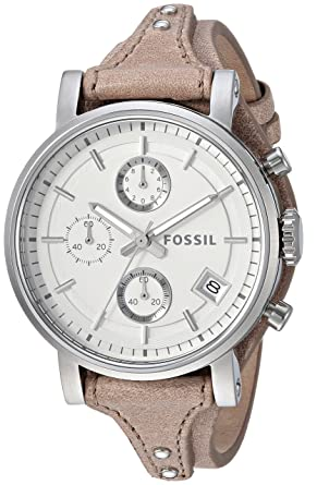 3a88329c1 Fossil Women's ES3625 Original Boyfriend Chronograph Stainless Steel Watch  with Beige Leather Band