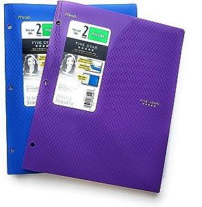 Five Star 2 Pocket Folder, Stay-Put Tabs, Plastic, Three Hole Punch (Blue)