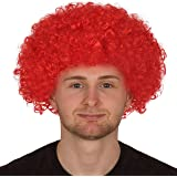 Adults Curly Afro Wig Multi Colour Party Clown Wigs Fancy Dress Accessory (Red)