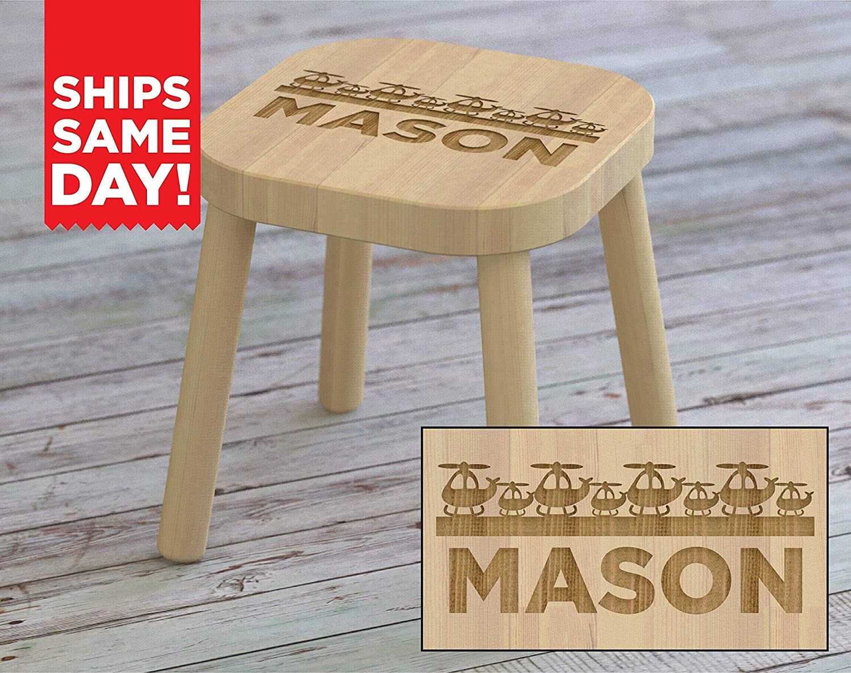 Sensational Amazon Com Kids Step Stool Helicopter Airplanes Custom Customarchery Wood Chair Design Ideas Customarcherynet