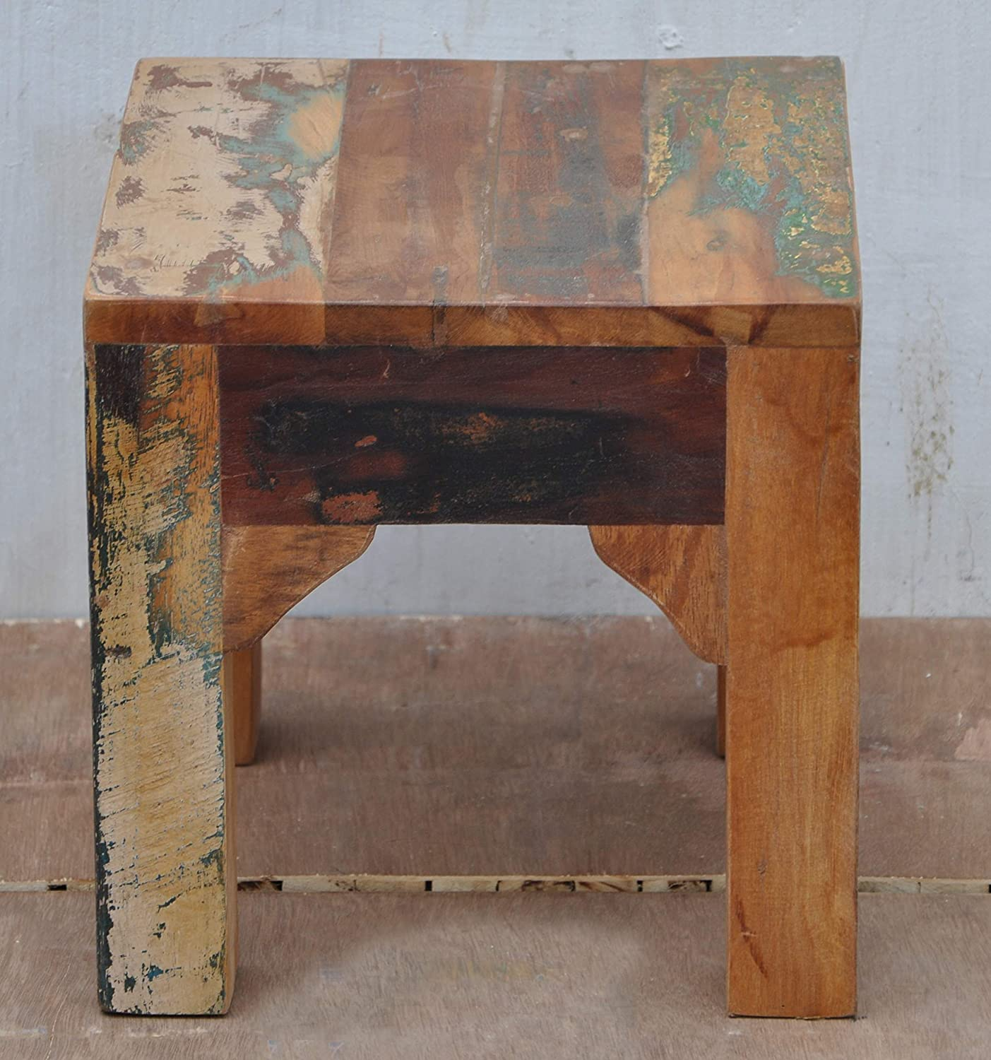 Handmade Solid Reclaimed Rustic Burn Wood Side End Table-Stool