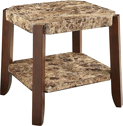 ACME Furniture Dacia End Table, Faux Marble Brown