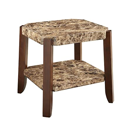 Acme Furniture 82126 Dacia End Table, Faux Marble Brown