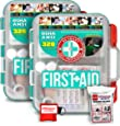 2 Pack First Aid Kit With Hard Case - 326 pcs each - First Aid Complete Care Kit - CPR Savers Keychain & Emergency Mylar Blanket