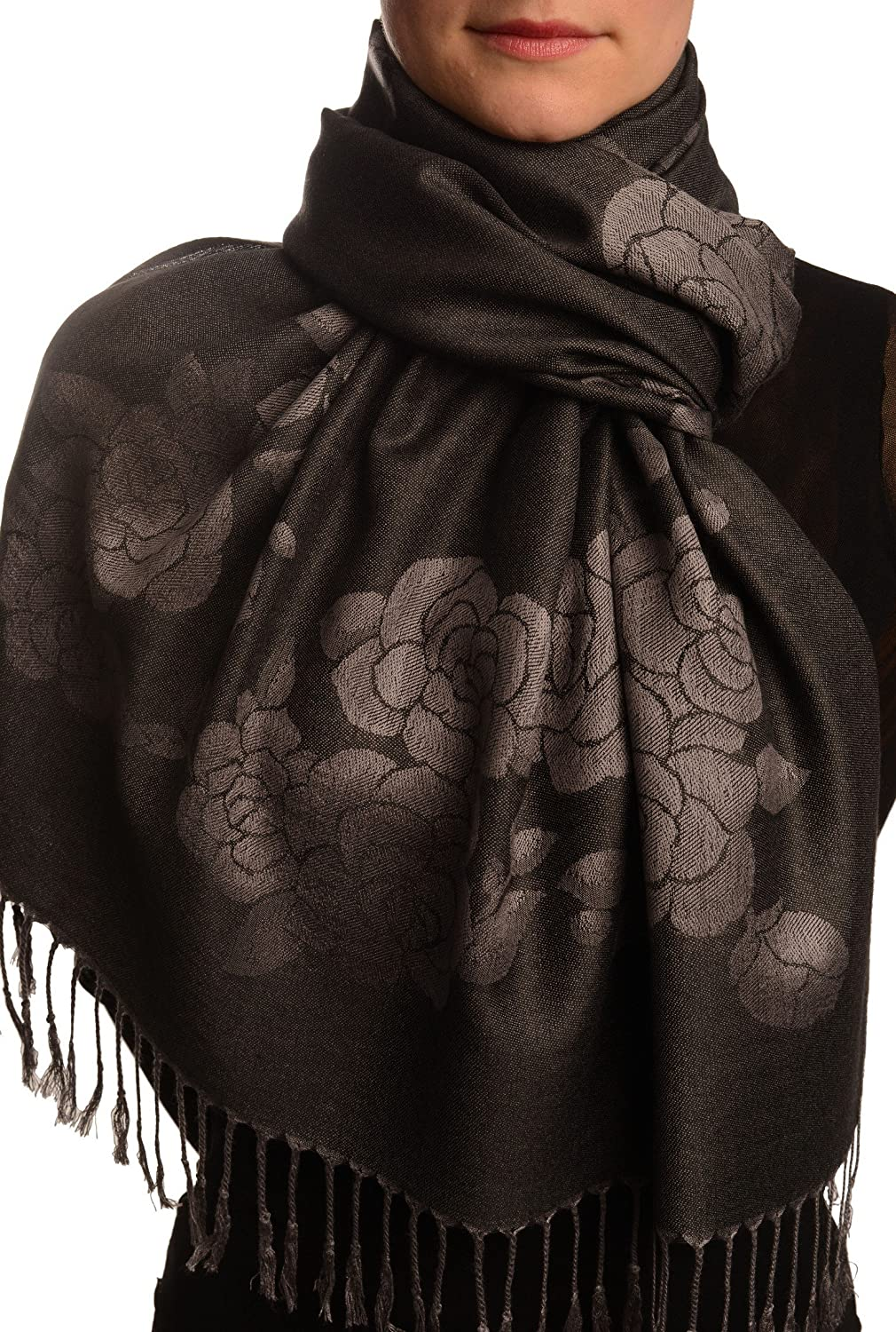 Roses On Black Pashmina Feel With Tassels - Scarf