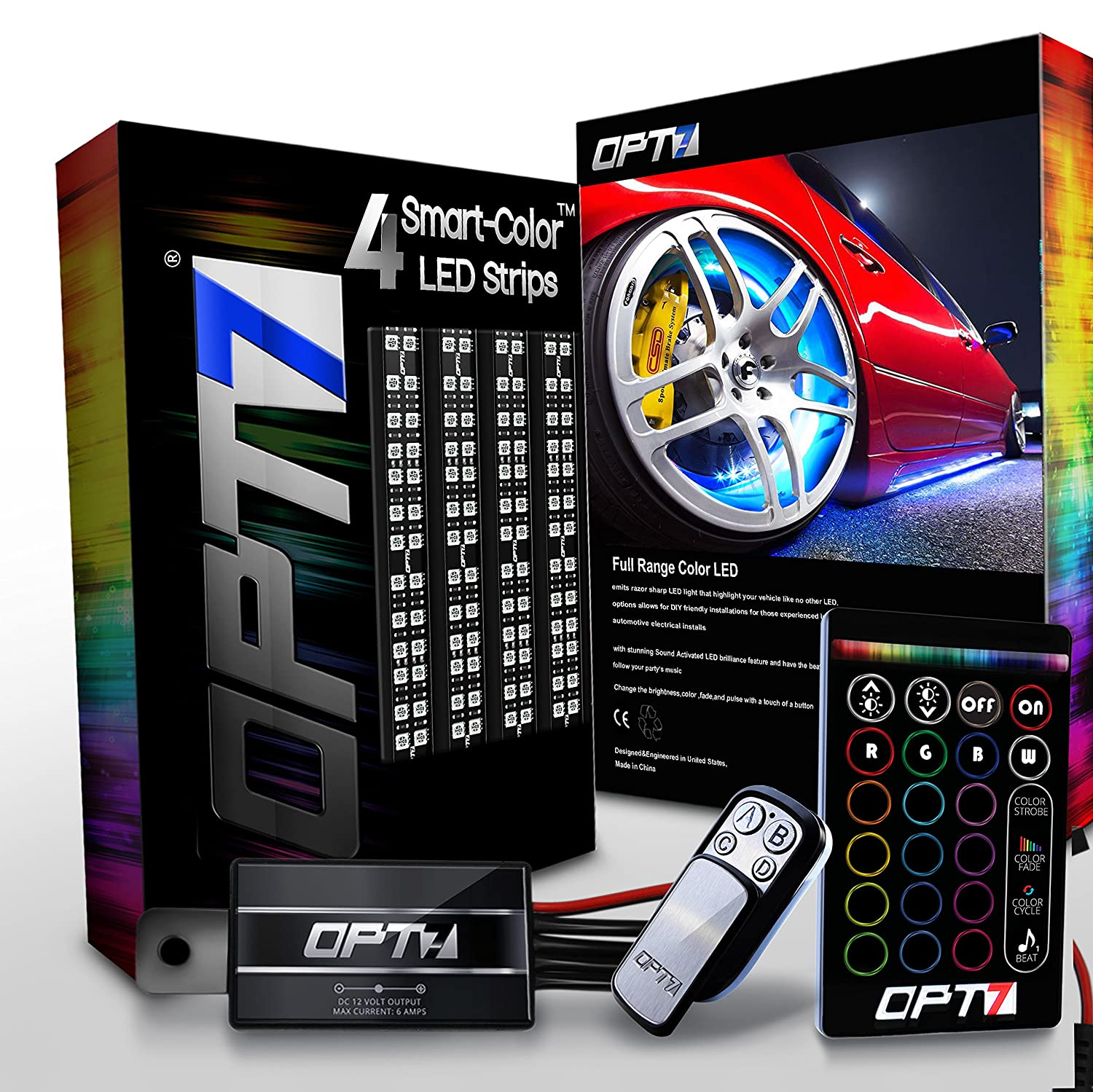 OPT7 3-Into-1 Aura Wheel Well LED Kit | 4pc Complete 24' All-Color Strips w/SoundSync