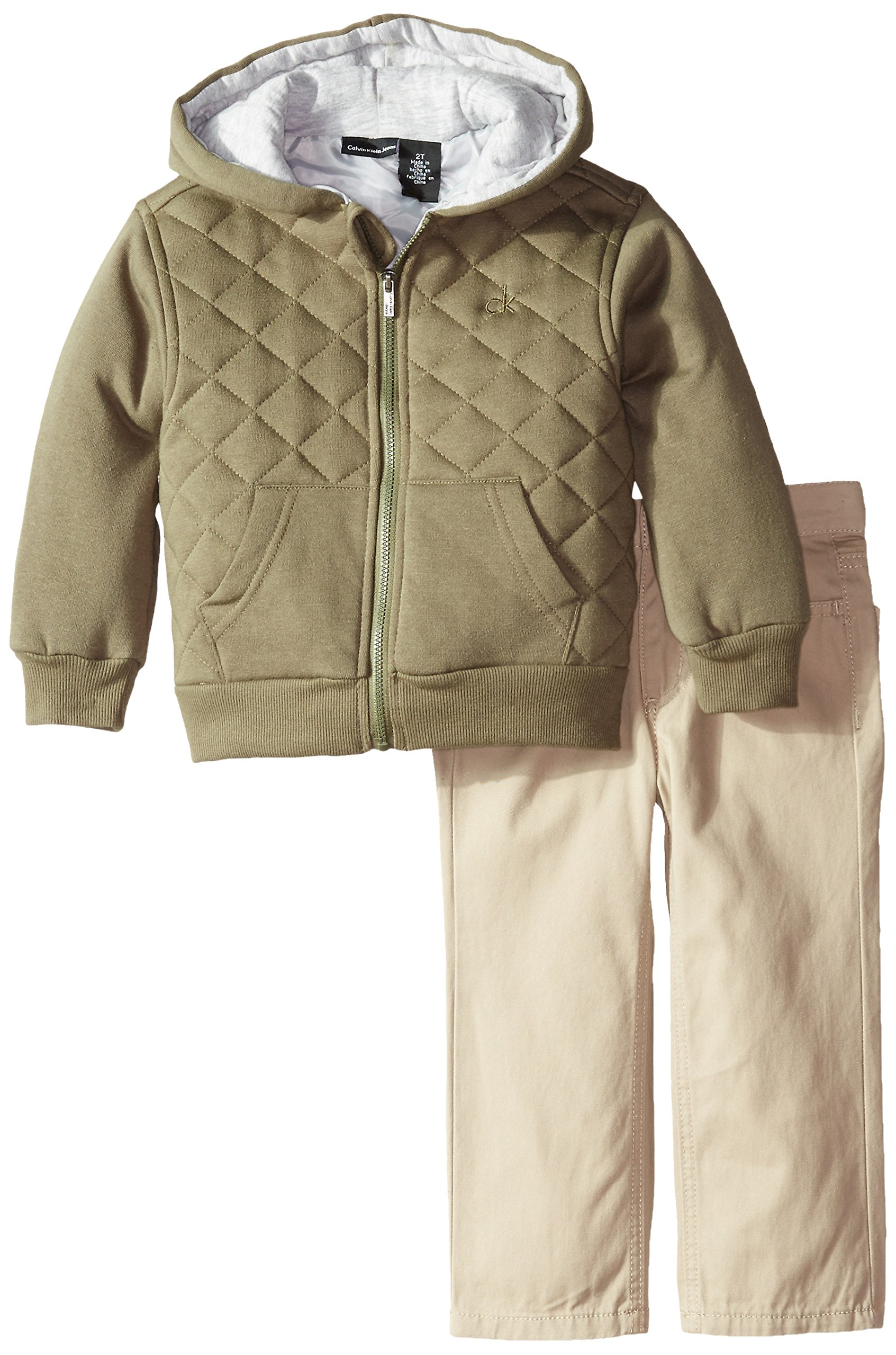 Calvin Klein Little Boys' Toddler Fleece Jacket with Short Sleeve Tee and Pants Toddler, Green, 3T