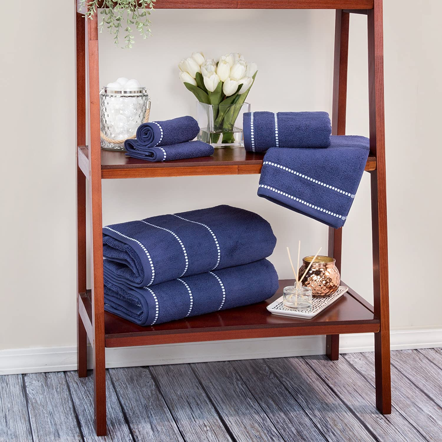 Luxury Cotton Towel Set- Quick Dry, Zero Twist and Soft 6 Piece Set With 2 Bath Towels, 2 Hand Towels and 2 Washcloths By Lavish Home (Navy / White)