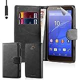 32nd Étui Portefeuille en Cuir PU Flip Coque pour Sony Xperia E4G, Housse avec fentes CB et Fermeture Magnétique - Noir