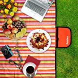 """Pulchra Picnic Blanket Waterproof Premium Quality (600D Oxford Fabric) Large (80""""×60"""") Foldable Outdoor Camping Beach Mats Blankets Baby Crawling Mat for Outing Road School Grass Trip Family Tea Party (Tangerine Strip)"""