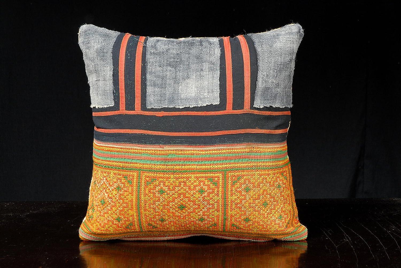 Throw pillow Miao Hmong vintage orange ethnic embroidery cotton, handwoven hemp, hill tribe home decor 15 x 15 inch square mini pillow SM22