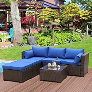 Valita 4-Piece Outdoor Rattan Furniture Set All-Weather PE Brown Wicker Sofa Patio Sectional Conversation Garden Couch with Royal Blue Cushion