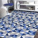 Tapete Sala Quarto Geométrico Ladrilho Antiderrapante 1,40x2,00 Azul