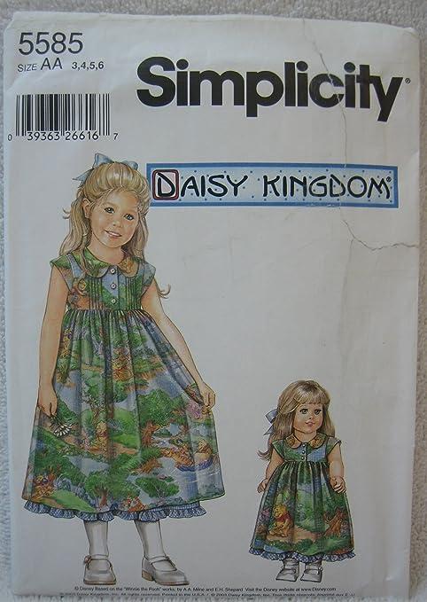 83ec1a1de Simplicity Daisy Kingdom patrón 5585 – del niño vestido y antideslizante y  ropa de muñeca para