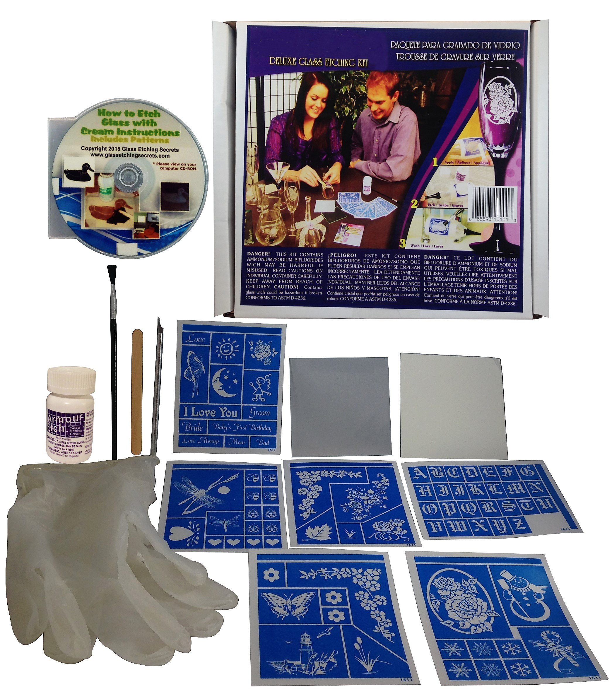 Glass Etching Kit Deluxe with Free How to Etch & Patterns CD by Glass Etching Secrets
