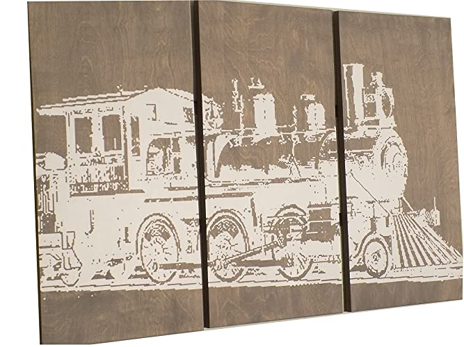 Amazon.com: Vintage Rustic TRAIN Wall Art- TRANSPORTATION Art - Home ...