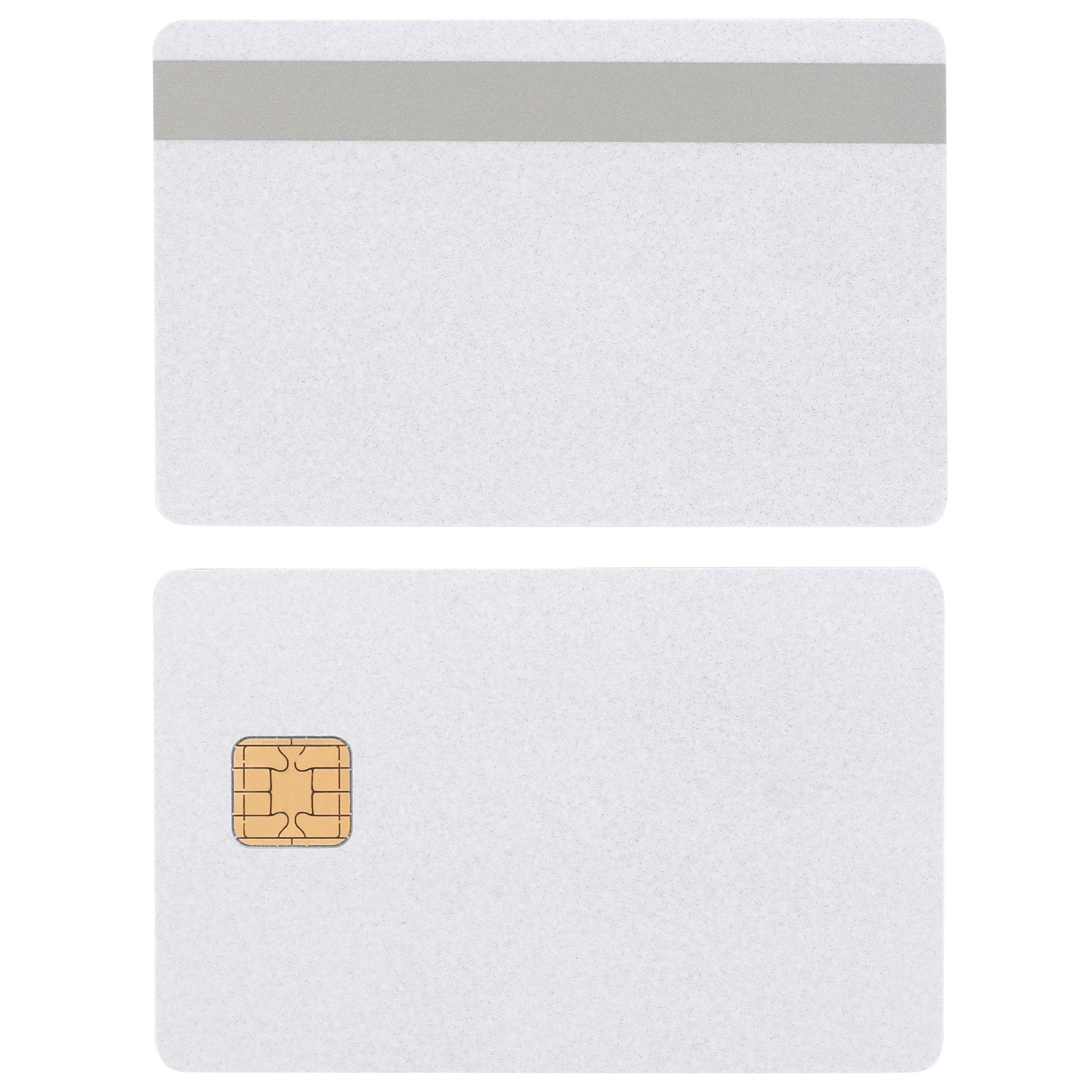 J2A040 Java JCOP Chip Cards PEARL w/ HiCo SILVER 2 Track Mag Stripe JCOP21-36K - 400 Pack by badgeDesigner