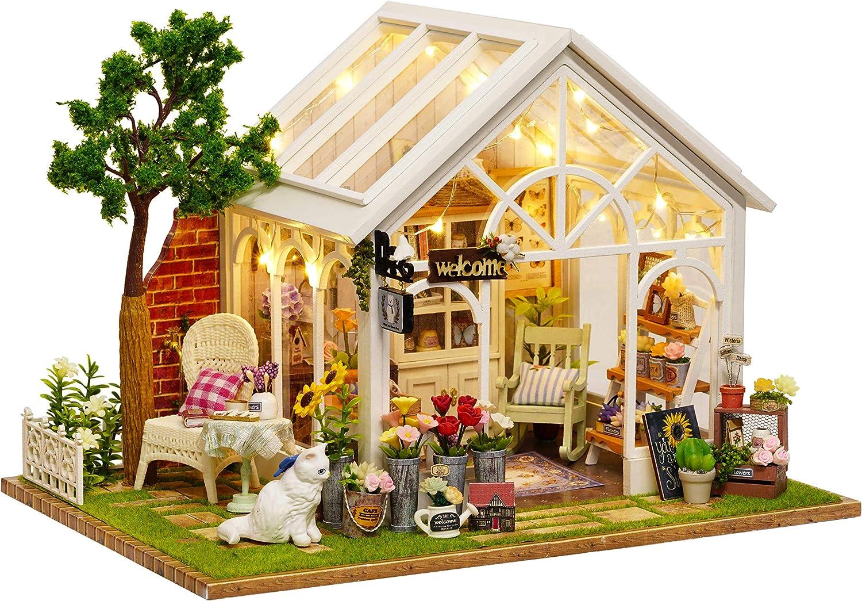 Flever Dollhouse Miniature DIY House Kit Manual Creative with Furniture for Romantic Artwork Gift (Sunshine Greenhouse)