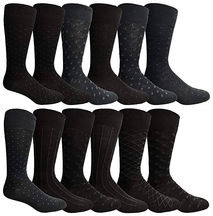 8ff8de7beba1 12 Pairs of excell Mens Fashion Designer Dress Socks, Cotton Blend  (Assorted N)