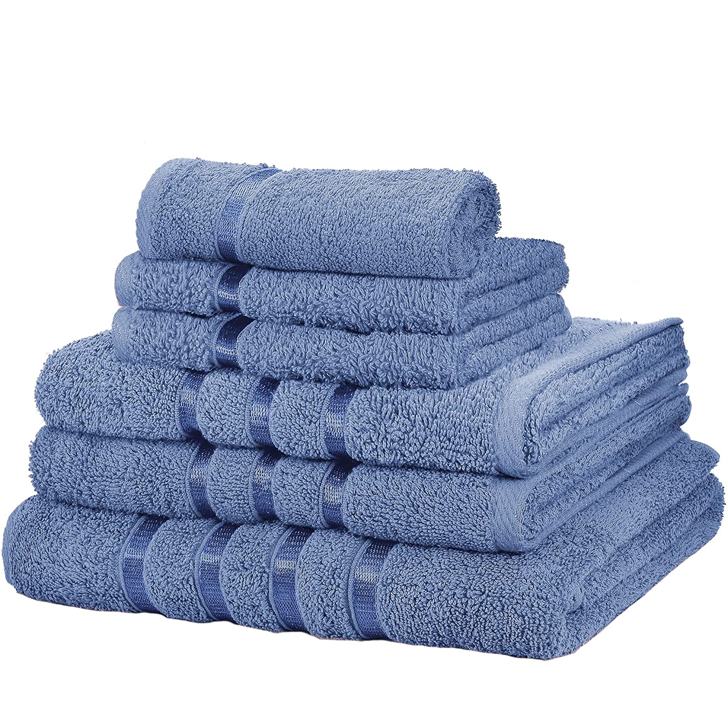 BLUE 6 PIECE BATHROOM BALE TOWEL SET SOFT SATIN BATH 100% EGYPTIAN COTTON TOWELS Evelyn Living