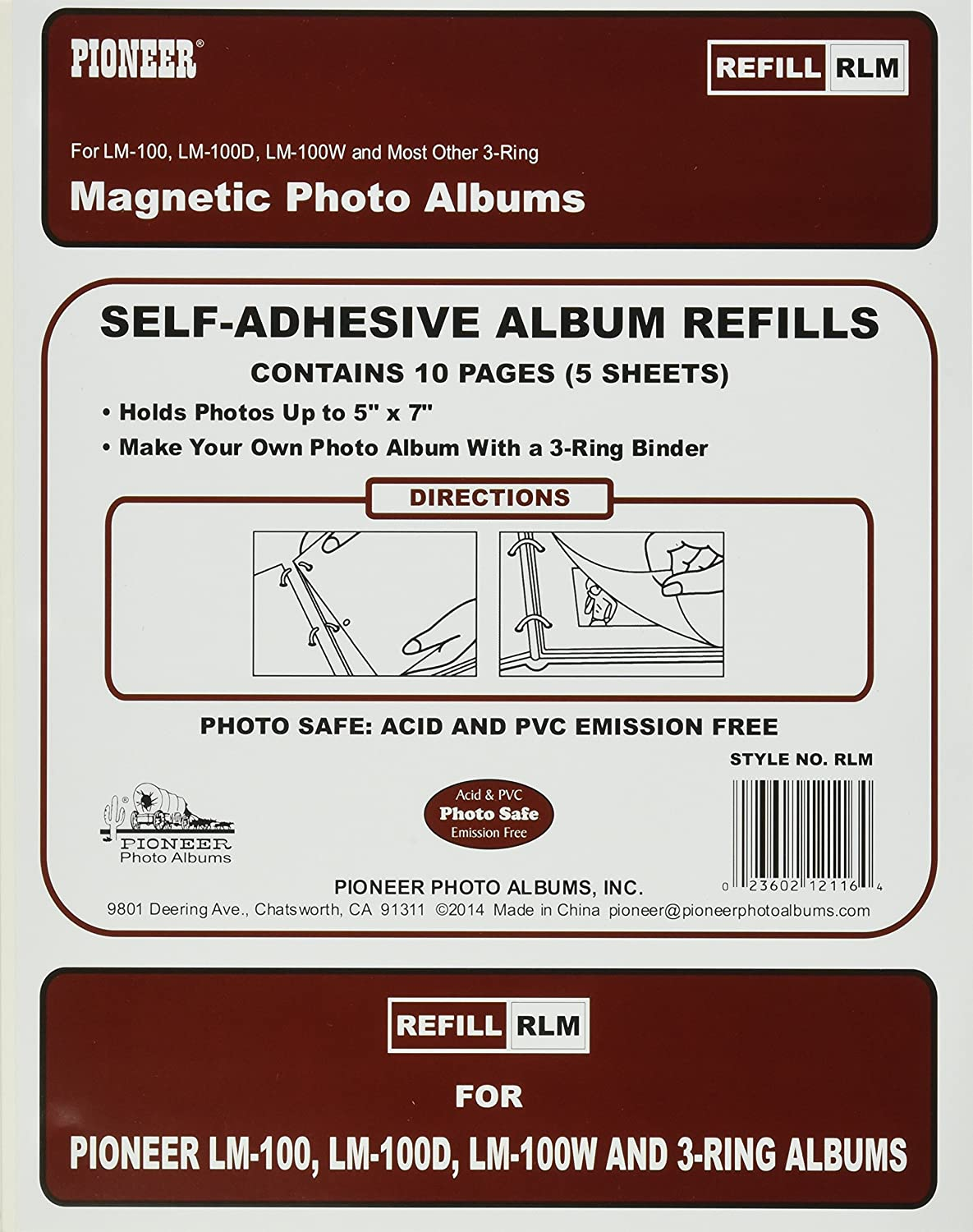 Refill Pages for LM-100, LM-100D and LM-100W Photo Albums, 10 Pages (5 Sheets) Pioneer (PIOO1) RLM
